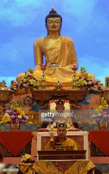 Tibet's third holiest man the 17th Gyalwang Karmapa Ogyen Trinley Dorjee performs rituals during the 31st Kagyu Monlam prayers for World Peace in...