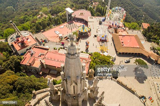 tibidabo amusement park from church viewpoint top. - tibidabo stock pictures, royalty-free photos & images