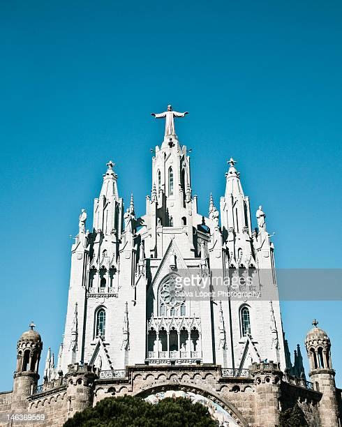 tibidabo church - sagrat cor stock pictures, royalty-free photos & images