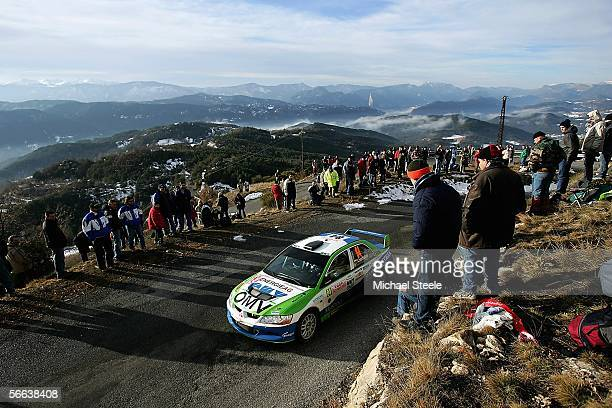 Tibor Cserhalmi of Slovakia and the Mitsubishi World Rally team in action during special stage 8 Leg 2 of the Monte Carlo Rally from Saint Antonin to...