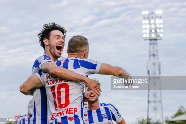 Tibor Halilovic of SC Heerenveen celebrates 0-1 with Mitchell van Bergen of SC Heerenveen during the Dutch Eredivisie match between Go Ahead Eagles v...