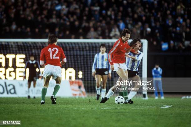 Tibor Nyilasi of Hungary centre fouls Alberto Tarantini of Argentina and is sent off
