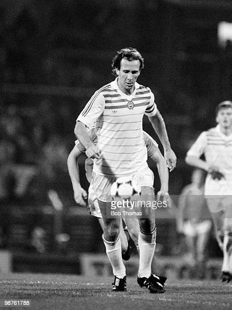 Tibor Nyilasi of Hungary in action against Wales during the International friendly match held at Ninian Park in Cardiff on 16th October 1985 Hungary...