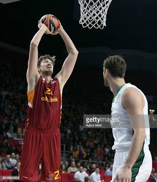 Tibor Pleiss #21 Galatasaray Odeabank Istanbul in action during the 2016/2017 Turkish Airlines EuroLeague Regular Season Round 8 game between...