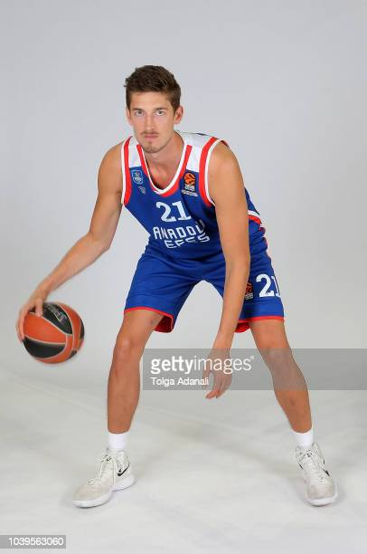 Tibor Pleiss #21 of Anadolu Efes Istanbul poses during the Anadolu Efes Istanbul 2018/2019 Turkish Airlines EuroLeague Media Day at Sinan Erdem Dome...