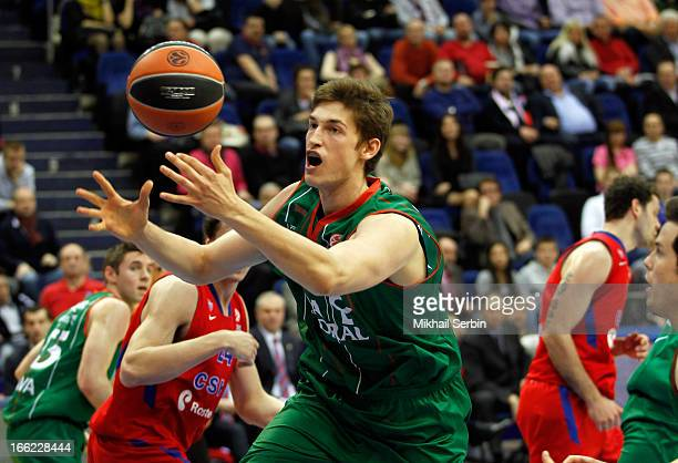 Tibor Pleiss #21 of Caja Laboral Vitoria in action during the Turkish Airlines Euroleague 20122013 Play Offs game 1 between CSKA Moscow v Caja...