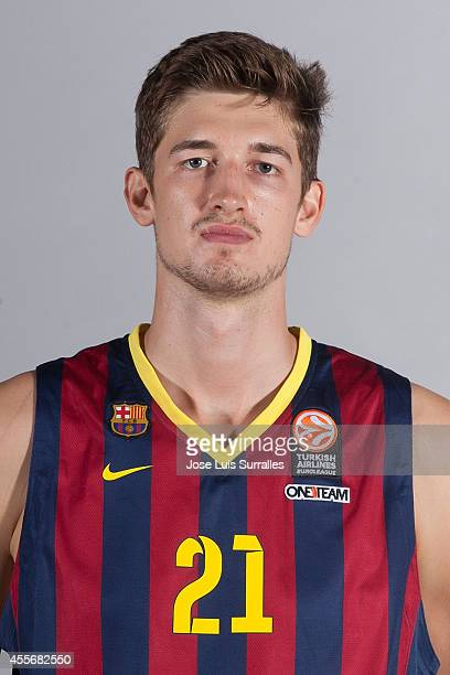 Tibor Pleiss #21 of FC Barcelona during the FC Barcelona 2014/2015 Turkish Airlines Euroleague Basketball Media Day at Ciutat Esportiva Joan Gamper...