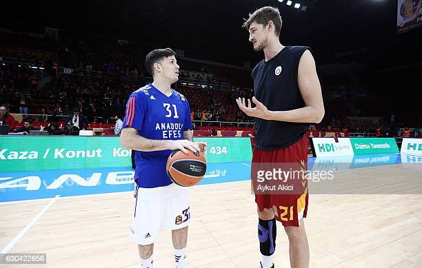 Tibor Pleiss #21 of Galatasaray Odeabank Istanbul and Thomas Heurtel #31 of Anadolu Efes Istanbul pictured prior to the 2016/2017 Turkish Airlines...