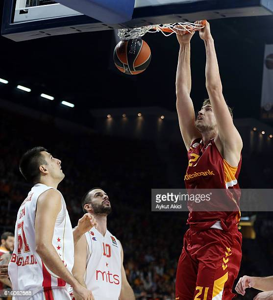 Tibor Pleiss #21 of Galatasaray Odeabank Istanbul in action during the 2016/2017 Turkish Airlines EuroLeague Regular Season Round 2 game between...