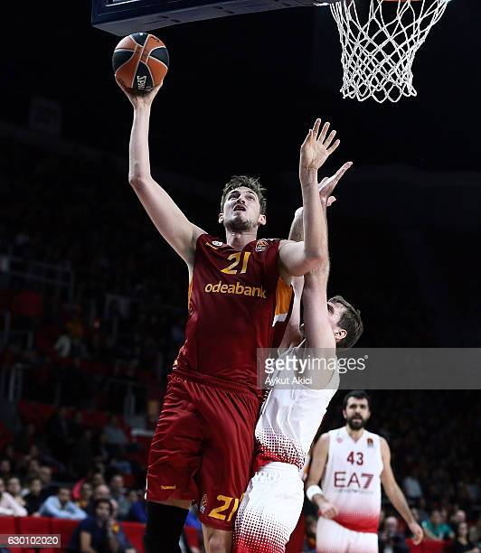 Tibor Pleiss #21 of Galatasaray Odeabank Istanbul in action during the 2016/2017 Turkish Airlines EuroLeague Regular Season Round 12 game between...