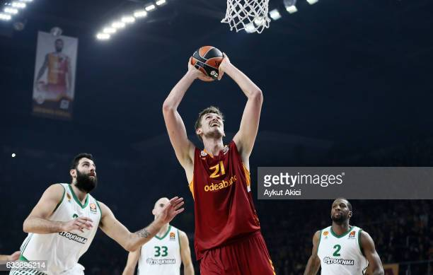 Tibor Pleiss #21 of Galatasaray Odeabank Istanbul in action during the 2016/2017 Turkish Airlines EuroLeague Regular Season Round 21 game between...
