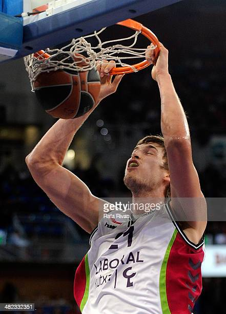 Tibor Pleiss #21 of Laboral Kutxa Vitoria in action during the 20132014 Turkish Airlines Euroleague Top 16 Date 13 game between Laboral Kutxa Vitoria...