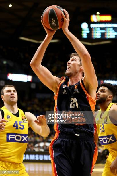 Tibor Pleiss #21 of Valencia Basket in action during the 2017/2018 Turkish Airlines EuroLeague Regular Season Round 11 game between Maccabi Fox Tel...
