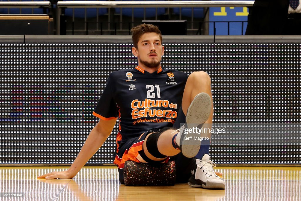 Tibor Pleiss, #21 of Valencia Basket warming up during the 2017/2018 Turkish Airlines EuroLeague Regular Season Round 11 game between Maccabi Fox Tel Aviv and Valencia Basket at Menora Mivtachim Arena on December 7, 2017 in Tel Aviv, Israel.