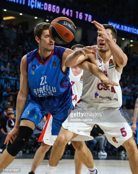 Tibor Pleiss of Anadolu Efes in action against Alec Peters of CSKA Moscow during the Turkish Airlines Euroleague week 27 basketball match between...