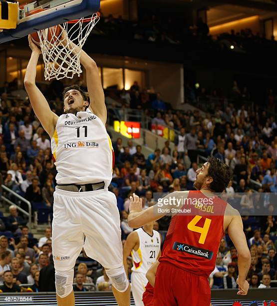 Tibor Pleiss of Germany drives to the basket against Nikola Mirotic of Spain during the FIBA EuroBasket 2015 Group B basketball match between Germany...