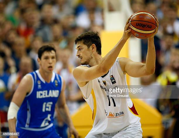 Tibor Pleiss of Germany saves the ball during the FIBA EuroBasket 2015 Group B basketball match between Germany and Iceland at Arena of EuroBasket...