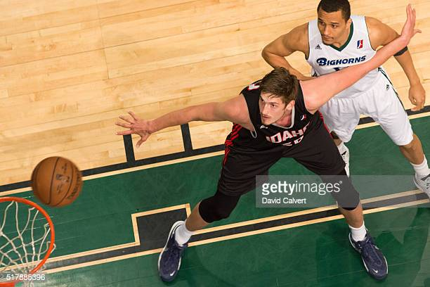Tibor Pleiss of the Idaho Stampede boxes out Reggie Hearn of the Reno Bighorns at the Reno Events Center on March 26 2016 in Reno Nevada NOTE TO USER...