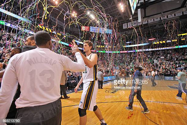 Tibor Pleiss of the Utah Jazz celebrates after the game against the Memphis Grizzlies on January 2 2016 at vivintSmartHome Arena in Salt Lake City...
