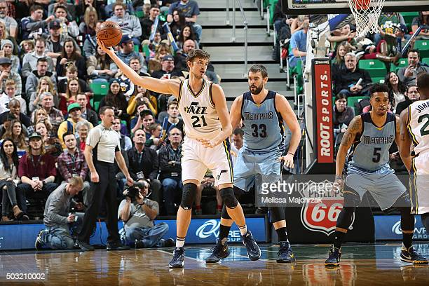 Tibor Pleiss of the Utah Jazz handles the ball against Marc Gasol of the Memphis Grizzlies on January 2 2016 at vivintSmartHome Arena in Salt Lake...