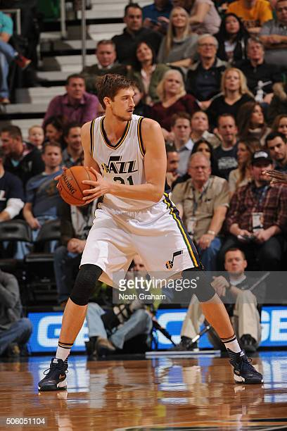 Tibor Pleiss of the Utah Jazz looks to drive to the basket against the Los Angeles Lakers at Vivint Smart Home Arena on January 16 2016 in Salt Lake...