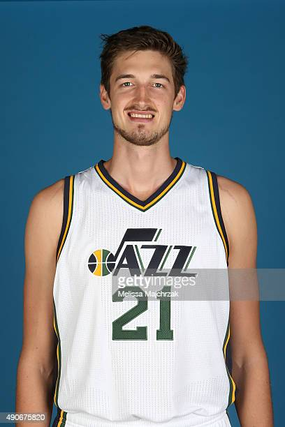 Tibor Pleiss of the Utah Jazz poses for a photo during Media Day at Zions Basketball Center on September 28 2015 in Salt Lake City Utah NOTE TO USER...