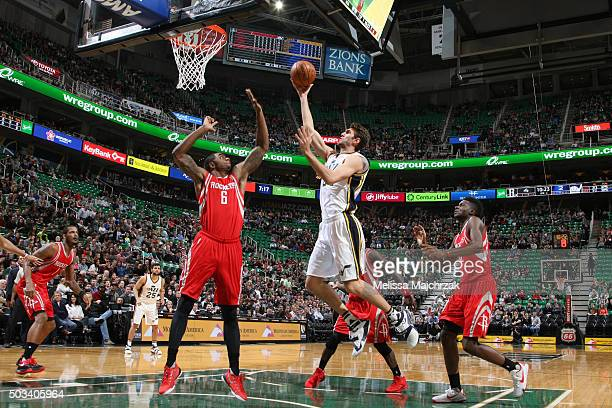 Tibor Pleiss of the Utah Jazz shoots the ball against the Houston Rockets on January 4 2016 at vivintSmartHome Arena in Salt Lake City Utah NOTE TO...