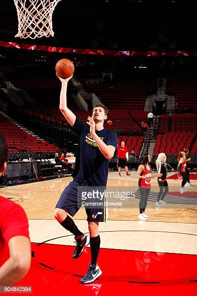 Tibor Pleiss of the Utah Jazz warms up before the game against the Portland Trail Blazers on January 13 2016 at the Moda Center in Portland Oregon...