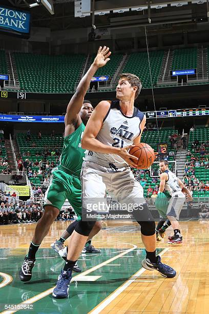 Tibor Pleiss of Utah Jazz handles the ball against the Boston Celtics on July 5 2016 during the 2016 Utah Summer League at vivintSmartHome Arena in...