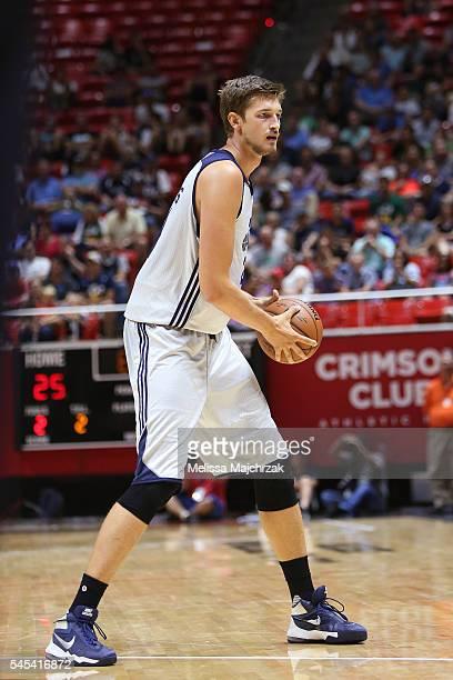 Tibor Pleiss of Utah Jazz handles the ball against the Philadelphia 76ers on July 7 2016 during the 2016 Utah Summer League at vivintSmartHome Arena...