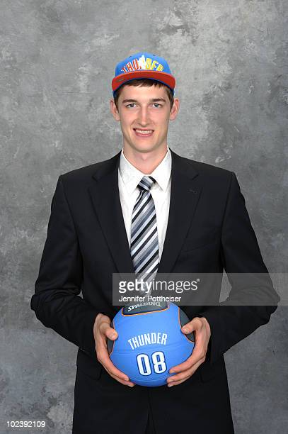 Tibor Pleiss selected number thirty one by the New Jersey Nets and later traded to the Oklahoma City Thunder poses for a portrait during the 2010 NBA...