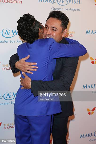 Tichina Arnold and Oscar De La Hoya arrive at the MakeAWish Greater Los Angeles Annual Wishing Well Winter Gala at the Beverly Wilshire Four Seasons...