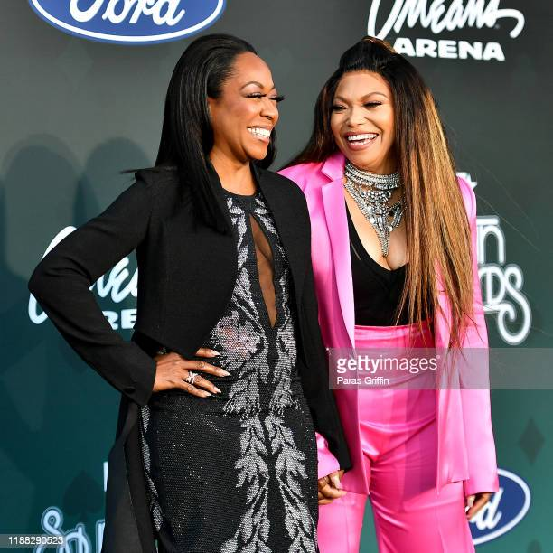 Tichina Arnold and Tisha Campbell attend the 2019 Soul Train Awards presented by BET at the Orleans Arena on November 17 2019 in Las Vegas Nevada