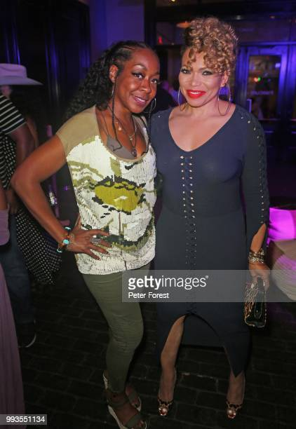 Tichina Arnold and Tisha Campbell both pose for photos during HBO's Insecure Live Wine Down at Essence at the Ace Hotel on July 7 2018 in New Orleans...