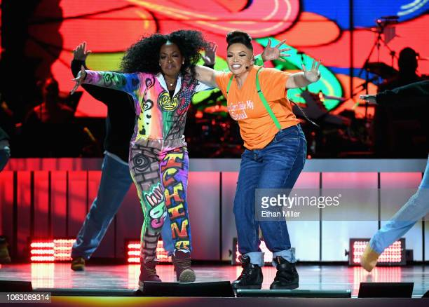 Tichina Arnold and Tisha Campbell perform onstage during the 2018 Soul Train Awards presented by BET at the Orleans Arena on November 17 2018 in Las...