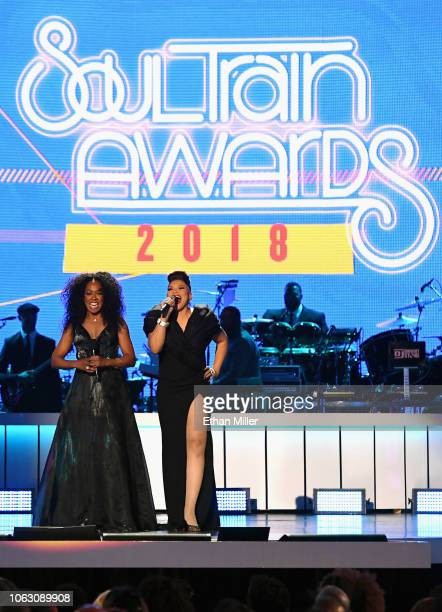 Tichina Arnold and Tisha Campbell speak onstage during the 2018 Soul Train Awards presented by BET at the Orleans Arena on November 17 2018 in Las...