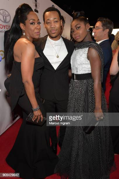 Tichina Arnold and Tyler James Williams attend the 49th NAACP Image Awards at Pasadena Civic Auditorium on January 15 2018 in Pasadena California