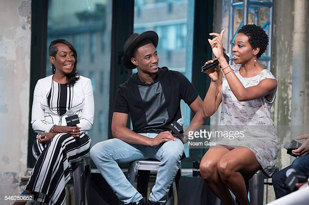 Tichina Arnold Jessie T Usher and Erica Ash visit AOL Build to discuss 'Survivor's Remorse' at AOL Studios In New York on July 11 2016 in New York...