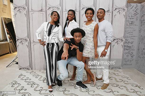 Tichina Arnold Teyonah Parris Erica Ash RonReaco Lee and Jessie Usher from the cast of 'Survivor's Remorse' visit AOL Build Speaker Series at AOL HQ...