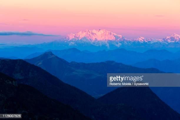 ticino canton and monte rosa at sunrise - monte rosa foto e immagini stock