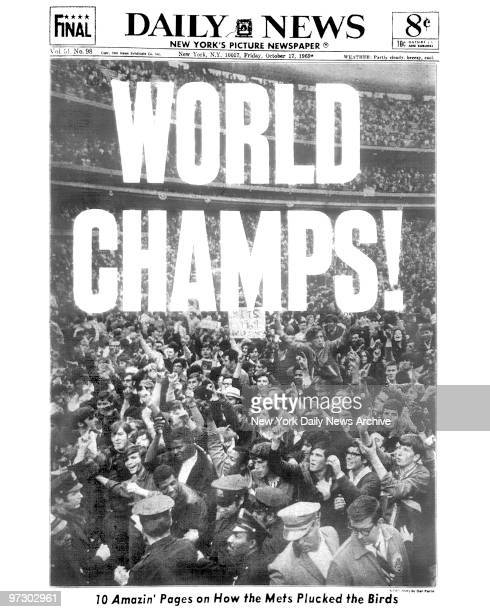 Ticker tape cascading on lower Broadway as the motorcade carrying the New York Mets heads toward Gracie Mansion after the Mets won the 1969 World...