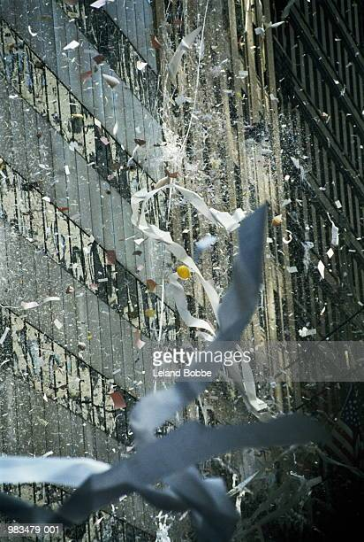 Ticker tape fluttering from buildings, New York City, USA