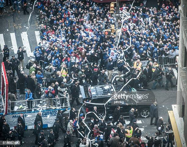 ticker tape parade for giants super bowl victory - ticker tape stock photos and pictures