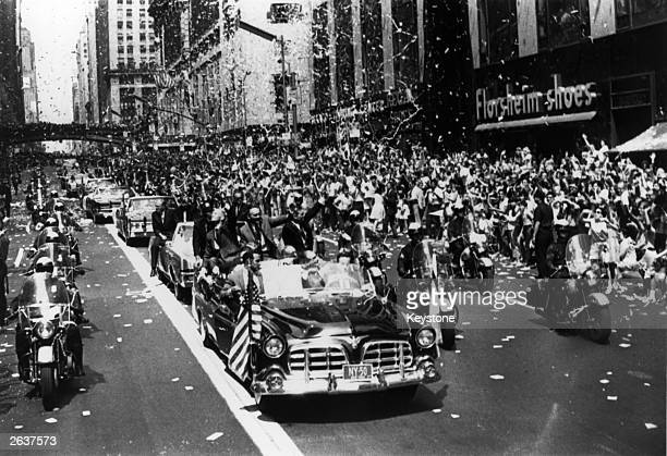 A tickertape parade to welcome US astronauts Neil Armstrong Buzz Aldrin and Michael Collins in 42nd Street Manhattan New York after their return from...