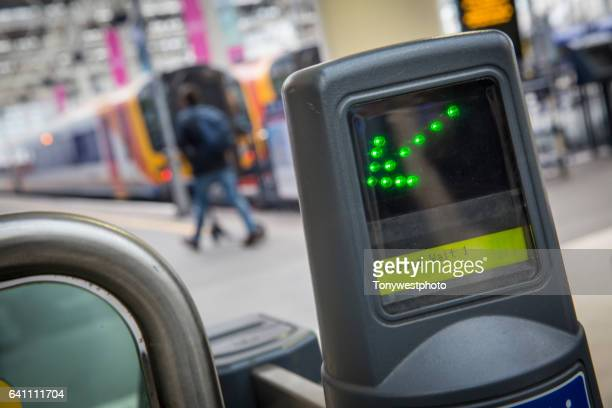 ticket barrier waterloo station, london - waterloo railway station london stock pictures, royalty-free photos & images