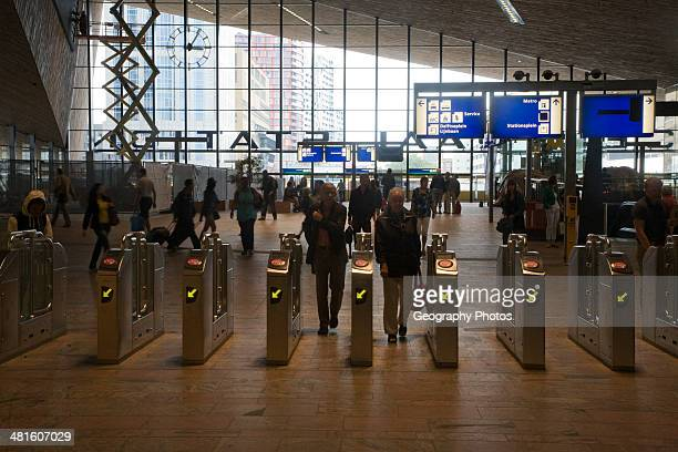Ticket barriers at Rotterdam Central railway station Netherlands