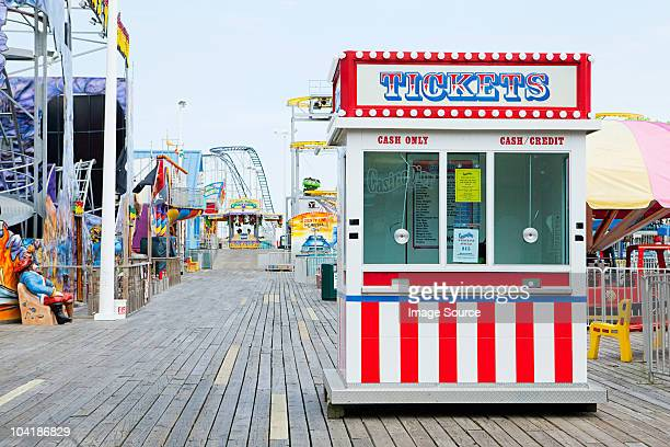 ticket booth on boardwalk at seaside heights, new jersey - traveling carnival stock pictures, royalty-free photos & images