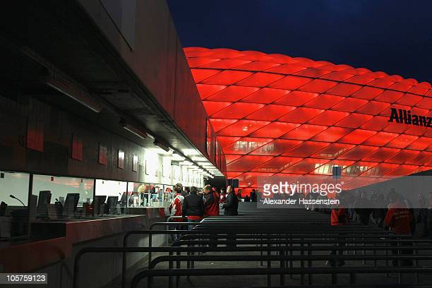 Ticket counters at the Allianz Arena pictured prior to the UEFA Champions League group E match between FC Bayern Muenchen and CFR 1907 Cluj at...