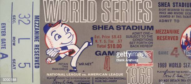 Ticket for Game Four of the 1969 World Series between the New York Mets and the Baltimore Orioles at Shea Stadium in New York City New York 1969