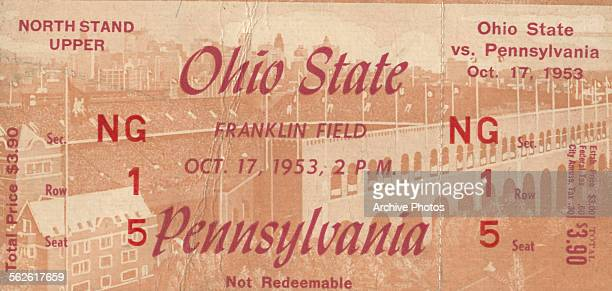 Ticket for the Ohio State vs Pennsylvania football game at Franklin Field in Philadelphia October 17th 1953